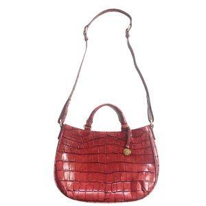 Brahmin Large Red Croc Shoulder Strap Handle Purse